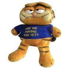 1981 Garfield The Cat Extra Large Are We There Yet? Teeshirt, Jim Davis Plush Stuffed Animal By Dankin