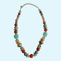 """Vintage Multicolored Faux Cabochons  Necklace 20-1/2"""" Long"""