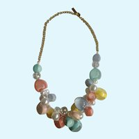 "Candy Colored Glass Beads on Gold-Tone Chain Necklace Costume Jewelry 22-1/2"" Long"