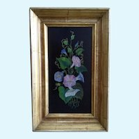 Morning Glories Still Life Oil Painting on Wood Board Plank 19th Century
