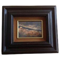 J Hayes, Mesa Verde American Indian Cliff Dwellings Watercolor Painting Signed By Artist