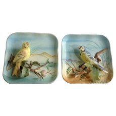 """Vintage Napco Blue Jay & Yellow Canary Bird B2791 Wall Plaque Set Late 1950's 5"""" 3 Dimensional Made in Japan"""