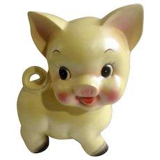 Rare Yellow Cream Iridescent Pearl Piggy Bank Ceramic Mid-Century Figurine