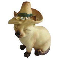 Mid-Century Norcrest Siamese Kitty Cat In Sombrero Hat With Flowers Ceramic Figurine #A742 Made in Japan