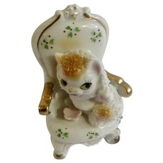 Adorable Kitty Cat Kitten In A Living Room Chair Porcelain Figurine