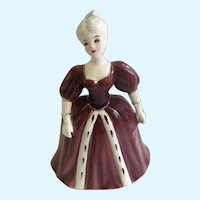 Lefton Girl Burgundy Formal Dress Planter Vase Porcelain Figurine Japan