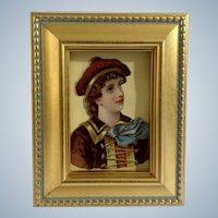 Victorian 1875-1880 Lovely Woman Die-Cut Embossed Paper Scrap in Gold Frame