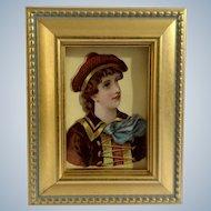 Victorian 1875-1880 Lovely Woman Die-Cut Embossed Paper Scrap in Gold Frame
