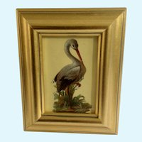 Victorian 1875-1880 Lovely Crane Bird Die-Cut Embossed Paper Scrap in Gold Frame