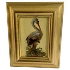 Victorian 1875-1880 Lovely Crane Bird Die-Cut Embossed Paper Scrap in Gold Frame