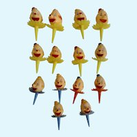 14 Vintage Cake Decoration Circus Toppers Cupcake Picks Clowns Plastic Figurines