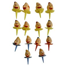 14 Vintage Cake Decoration Circus Toppers Clowns Plastic Figurines