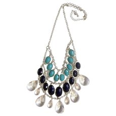 Lovely Cascading Waterfall Tear Drop Navy and Faux Turquoise Colored Beads in Silver-tone Setting Necklace
