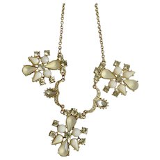 Faux Diamond, Cloudy White and Bright White Rhinestones Beaded Gold-tone Necklace