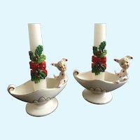 Vintage Polka Dot Pixie Elf Bunny Rabbit Pajama Girls Candle Holders Lefton