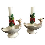 Vintage Geo Lefton Polka Dot Pixie Elf Bunny Rabbit Pajama Girls Candle Holders Made in Japan
