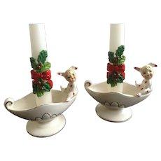 Vintage Geo Lefton Polka Dot Pixie Elf Bunny Rabbit Pajama Girls Candle Holders Made in Japan