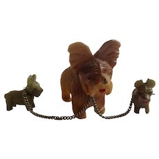 Early Plastic Celluloid Papillon Dog and Two Puppies Chained Figurines 1930-1940's