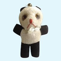 Teddy Bear 1940's Stuffed Animal Panda Glass Eyes, Sawdust Filled