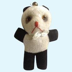 Teddy Bear 1940's Stuffed Animal Panda Glass Eyes, Sawdust Filled