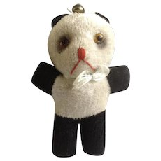1940's Stuffed Animal Panda Bear Glass Eyes, Sawdust Filled with a Bell on Top of His Head