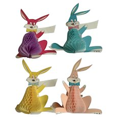 Vintage Anthropomorphic Easter Bunny Decorative Tissue Honeycomb Cardboard Paper Display Rabbits Made in Japan