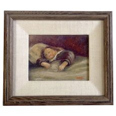 W. M. Brady Girl Sleeping Small Oil Painting Signed By Artist