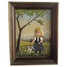 Bob Dault, Heidi 3D Small Oil Painting Mixed Media Signed By Artist 1970 3 Dimensional