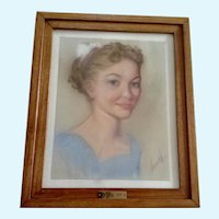 Kay 1957 Green Eyed Beauty Pastel on Paper Portrait Signed By Artist French