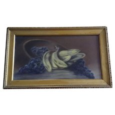 19th Century Grape and Banana Fruit Still Life Pastel Painting In Original Unrestored Gilded Frame and Original Glass