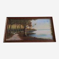 Eva Warren, Early 20th Century Landscape Pastel Painting Signed By Artist