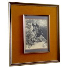 Thoroughbred Racehorse Named 'Chances Are' Equestrian Graphite Portrait Drawing Monogrammed by Artist
