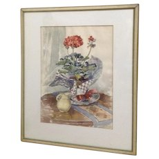 W H Eppens (1885-1956)  Red Geranium Plant Watercolor Painting Signed By Listed Artist