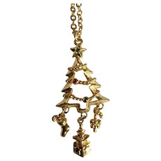 Gold-Tone Christmas Tree Pendant with Sparkling Colored Crystals and Dangling Charms on Chain Necklace Avon Costume Jewelry