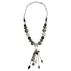 """Silver-Tone Beaded Necklace with White, Black and Gray Beads Costume Jewelry 21"""" Long"""