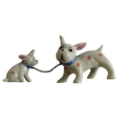 Circa 1930's Porcelain Chain Dog Figurines Japan