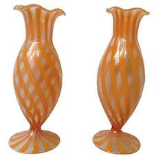 Lauscha Germany Orange Spiral Fluted Glass Miniature Vase Circa 1930's Set Dollhouse