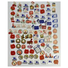 101 Mid-Century Christmas Package Seals Letter Stickers Santa Toys Snowmen Poinsettias and More Paper