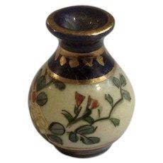 Vintage Miniature Hand Painted Floral Cobalt Blue Porcelain Vase Made in Japan Great for Dollhouse Diorama