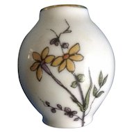 Vintage Miniature Hand Painted Floral Porcelain Vase from the early 20th century Signed Orlik France Dollhouse Diorama