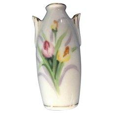 Rossetti Bone China Miniature Vase With Hand Painted Tulip Flowers Mid-Century Japan Dollhouse Diorama