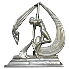 Nude Woman Dancing, Lady With Scarf Art Deco Style Lamp Nightlight Aluminum