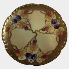 Vintage Haviland France White's Art Co. Chicago Hand Painted Berry Fruit Gold Rim Plate 6-1/8""