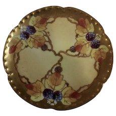 "Vintage Haviland France White's Art Co. Chicago Hand Painted Berry Fruit Gold Rim Plate 6-1/8"""