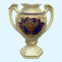 Occupied Japan Miniature Porcelain Trophy Urn Vase Hand Painted Dollhouse