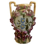 Rare Beautiful Floral Encrusted Miniature Porcelain Double Handle Vase Great For Dollhouse Made In Germany Circa 1920's