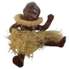 Hawaiian Polynesian Male Beach Boy with Hula Grass Skirt Figurine Japan 1930's