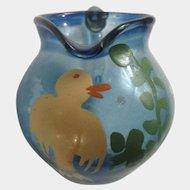 Miniature Glass Hand Painted Yellow Bird  Light Cobalt Blue Pitcher Vase For Dollhouse Diorama