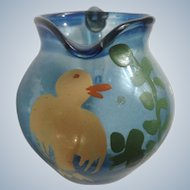 Miniature Glass Hand Painted Yellow Bird  Light Cobalt Blue Pitcher Vase For Dollhouse Diorama