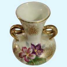 Dollhouse Miniature Porcelain Vase Hand Painted Pink Floral Japan Circa 1930's